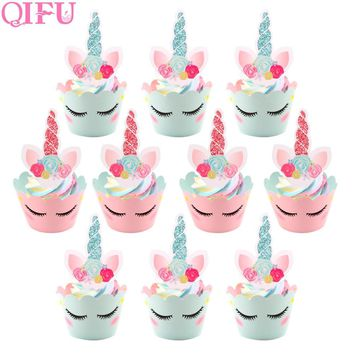 QIFU 24pcs Birthday Decorations Unicorn Party Cupcake Wrappers Cake Topper Baby Shower Unicornio Cake Decor Wedding Favors Gift