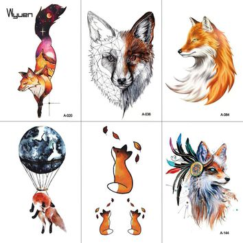 WYUEN Watercolor Fox Temporary Tattoo Sticker for Waterproof Women Fake Body Art Adult Fashion Hand Tatoo Sticker 9.8X6cm A-020