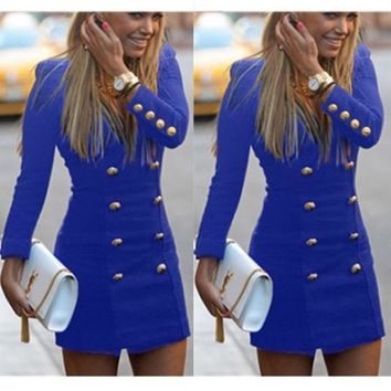 Blue Studded Zipper V-neck Long Sleeve Mini Dress
