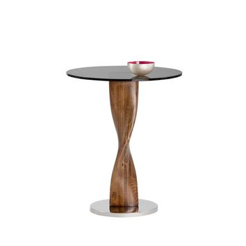 ISHTAR STAINLESS STEEL BASE WITH ROUND TEMPERED GLASS TOP SIDE TABLE