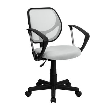 Mid-Back White Mesh Task Chair and Computer Chair with Arms WA-3074-WHT-A-GG