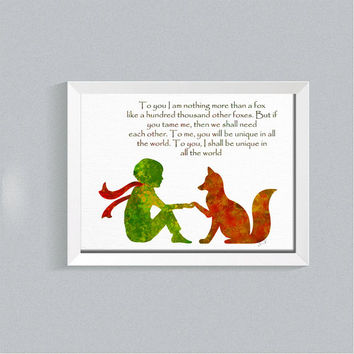 Set of 2 prints, inspirational quote, little prince Fox, little prince wall art, Giclee Print, Nursery decor, baby room, Baby shower gift