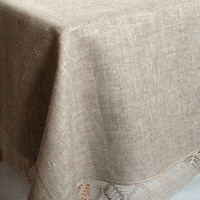 "Linen Tablecloth Burlap Checked Square Natural Gray Linen Lace 62"" x 62"""