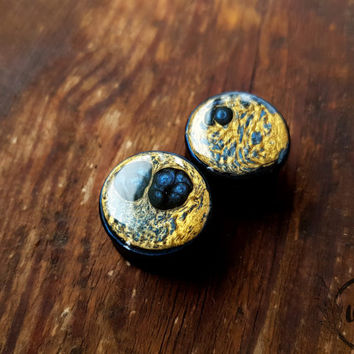 "Pair Gold Blue Wooden Ear plugs,tunnels,wood gauges resin plugs 0g,00g;8,10,12,14,16,18,20 mm;5/16,3/8,7/16,1/2,9/16,5/8,11/16,13/16 "" inch"