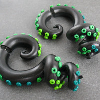 Octopus Tentacle Fake Ear Gauges, Tentacle Plugs Faux Gauges