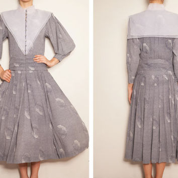 1980's koren designer André Kim vintage dress,grey dress,sailor collar dress,print dress,pleated dress,shirtwaist dress,bishop sleeve dress