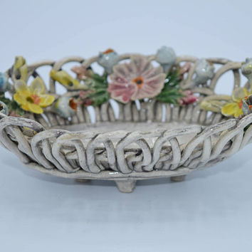 Capodimonte Small Woven Basket & Roses Vintage Capodimonte Jewelry Tray Ring Holder Made in Italy Porcelain Weave Open Trinket Dish