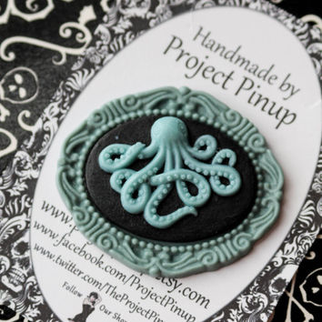 Octopus Cameo Brooch Pin- Black & Seafoam Green