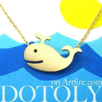 Happy Whale Pendant Necklace In Gold | Animal Jewelry