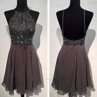 Spaghetti Straps Backless Short Prom Dresses Evening Dresses