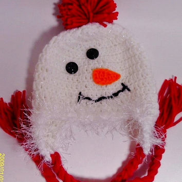 Baby Snowman Hat Crochet Photo Prop Boy Girl 0-6 m. 6-12 m. 1-3 years. 4+ years. Christmas Gift Shower Gift Winter Clothing Warm