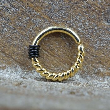 Tiny Twisted Gold Hoop Earring 16 Gauge