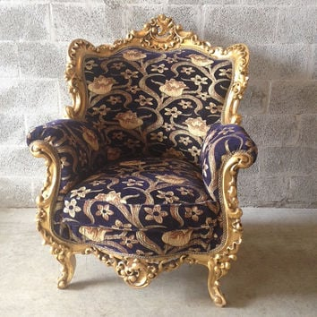 Antique French Louis XVI XV Quinze Chair Original Gold Leaf Refinished Bergere Heavy Baroque Rococo Dark Blue Floral Fabric Furniture
