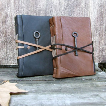 Two Leather Journals with Antique Keys, Black and Brown - Christmas Gift Set