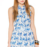 Printed Lapel Side Cut Out Dress