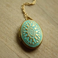 Small Blue Ornate Locket Necklace, Oval Pendant, Small, Long Chain Choice, 14kt Gold Filled Chain, Simple and Delicate Fashion