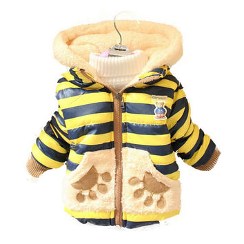 2017 New Winter Cartoon Bear children's clothing Baby Boys Thickening Outerwear Infant Down Coat baby boy jacket