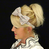 Gray floral bow stretch headband for adult/child feminine/retro/kawaii