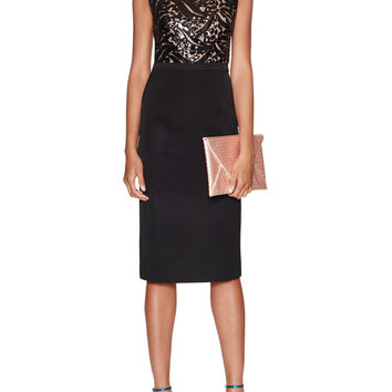 ML Monique Lhuillier Women's Sequin V-Back Faille Sheath Dress - Black