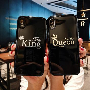 King Queen Crown For iPhone 6 6s 7 8 X Plus Case clean smooth Phone Case Soft TPU silicone For iPhone 6 6S 7 8 X Plus Case Cover