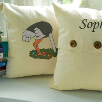 Set of 2 KIDS THROW PILLOWS - Unique Cartoon Square Cotton Covers and Cushions - Choose from 10 Pairs of Patterns