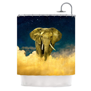 "Nick Atkinson ""Celestial Elephant"" Black Blue Shower Curtain"