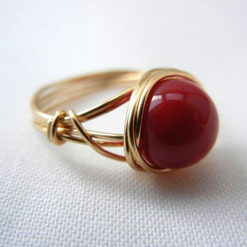 Bamboo Coral Ring, Wire Wrap Ring, Wire Wrapped Jewelry Handmade, Red Bamboo Coral, Coral Jewelry, Red Stone Ring