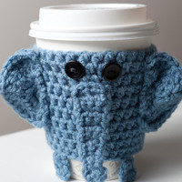 Crocheted Cuddly Elephant Coffee Cup Cozy by CuddlefishCrafts