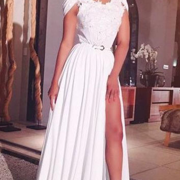 Lace Sleeve Long Prom Dress