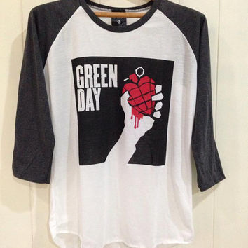 Green day, print shirt,Baseball tee, Raglan women t shirt, long Sleeve UNISEX SIZE S,M,L
