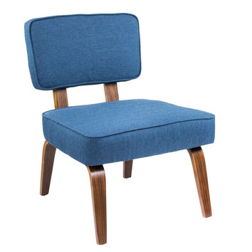 Nunzio Mid-Century Modern Accent Chair in Navy Blue Fabric by LumiSource