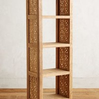 Handcarved Fretwork Narrow Bookcase by Anthropologie in Natural Size: One Size Furniture