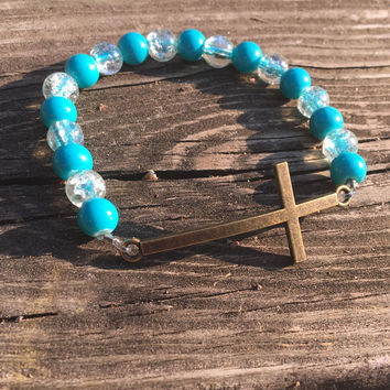 Bronze & Aquamarine Beaded Stretch Cross Infinity Bracelet