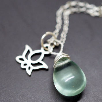 Fluorite Lotus Flower Necklace - Wrapped Green Fluoite Pendant - Yoga