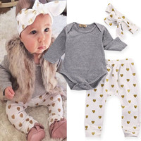 2016 Newborn Infant Kids Baby Girls T-shirt Romper+Pants Leggings+Headband Outfits Clothes Set Summer Toddler Chidren Clothing