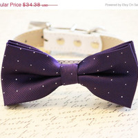 Purple Dog Bow Tie - Purple and Silver Wedding- Dog Bow tie attached to high quality leather, Pet wedding accessory