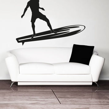 Vinyl Wall Decal Sticker Long Board Surfer #OS_AA1229