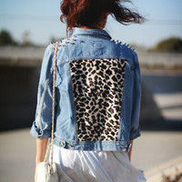 Denim Jacket with Leopard Panel by CustomVintageClothes on Etsy
