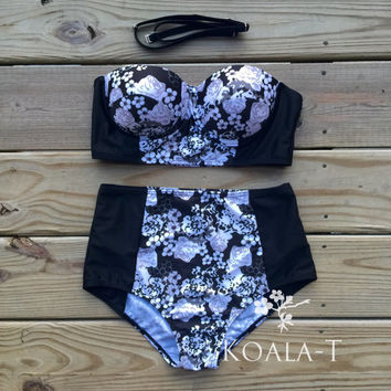 Black & White Floral Print Bandeau Top High Waist by KoalaTFashion