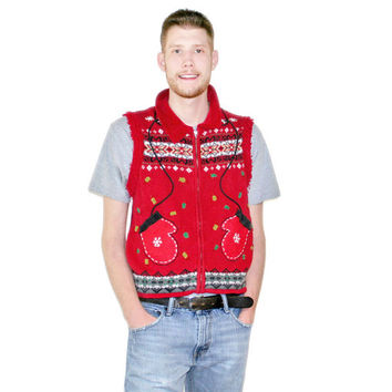Mitten Pockets Ugly Christmas Sweater Vest - The Ugly Sweater Shop