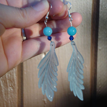 Long Frosted Winter Leaf Blue Jade and Crystal Earrings - Christmas - Holiday - Blue Jade Jewelry -Gifts for her -Holiday Earrings -Gemston