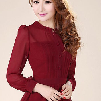 Free Shipping High Quality Plus Size S-XXXL Stand Collar Puff Sleeve Long Sleeve Collect Waist Chiffon Blouse Wine Red/Black