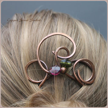 Hair Fork, Copper Hair Fork Beaded Swirls, Hair Pin Copper, Bun Pin Copper Hair Accessory Womens, Bun Holder, Hair Grip, Clip Hair Clamp