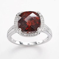 10k White Gold Garnet & Diamond Accent Halo Ring (Red)