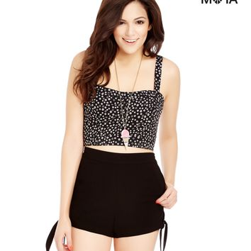 Aeropostale  Womens Solid High-Waisted Side Tie Shorts
