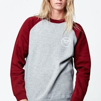 Crew Neck Sweatshirt - Mens Hoodie - Gray/Burgundy