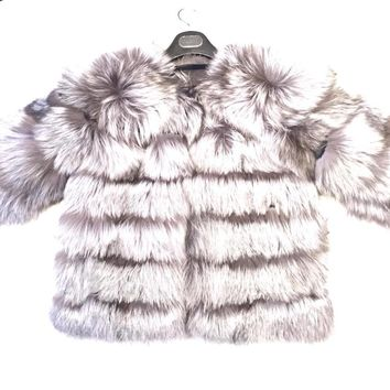 Winter Fur Women's Full Silver Fox Fur Coat