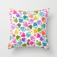 CUPCAKES Throw Pillow by Sharon Turner | Society6