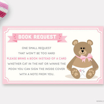 Stuffed Teddy Bear Book Request Printable for Baby Girls with a Pink Bow, Bring a Book Instead of a Card, Insert, Instant Download