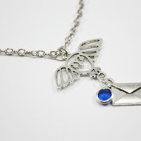 Hogwarts Acceptance Letter Necklace With House color Crystal at R&L